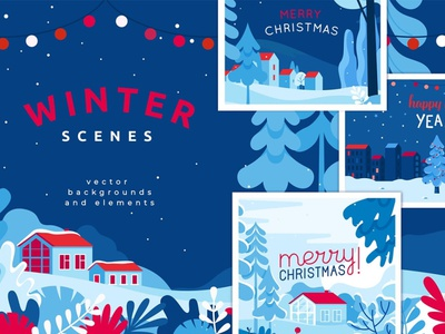 Winter scenes - Christmas cards abstract posters poster website greeting cards greeting illustrations art graphic design background vector illustration design winter sports cards card christmas card christmas winter scene winter