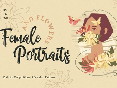 Female Portraits And Flowers shape poster stories collection graphics illustrations art graphic design watercolor background vector illustration design female character clipart floral flowers flower portrait female