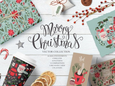 Merry Christmas Vector set greeting card flowers floral illustration design graphic aset asset assets graphics assets graphic assets graphics collection graphics compositions paatterns pattern seamless pattern vector christmas merry christmas floral wreath
