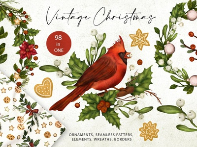 Vintage Christmas. Big Graphic Kit. art paper wallpaper fabrics background vector illustration design graphic elements borders wreaths elements seamless patterns ornaments graphic kit big graphic kit big graphic big vintage christmas vintage