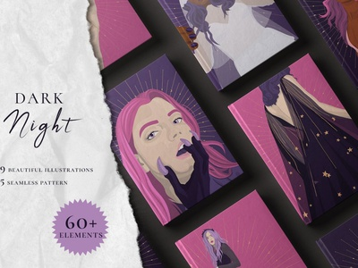 Dark Night Collection logo vector illustrations design wrapping paper printings print banners background coloring color notepad cover postcards posters seamless patterns seamless pattern illustration beautiful collection dark night