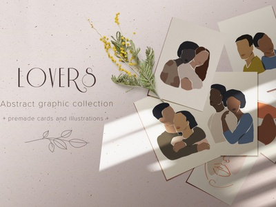 Lovers abstract collection professional simple art portraits character design character portrait background vector design lover lovely illustrations illustration cards card collection abstract lovers love