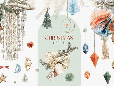 Christmas Decor Watercolor Set wrapping printing print illustration design flowers christmas flyer christmas party christ christmas tree christmas card christian decorate decorations decorative decoration christmas watercolor set watercolor decor