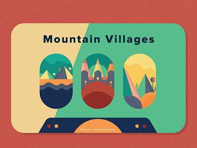 Mountain Villages shapes shape clipart color concept graphic graphics illustrations art flowers graphic design background vector mountains abstract poster illustration design villages mountain