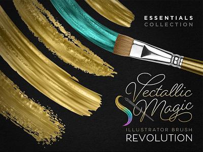 Vectallic Magic Brush Revolution! vector gold brush stroke vector brush brush stroke paint stroke gold watercolor gold texture illustrator illustrator brush brush gold brush gold