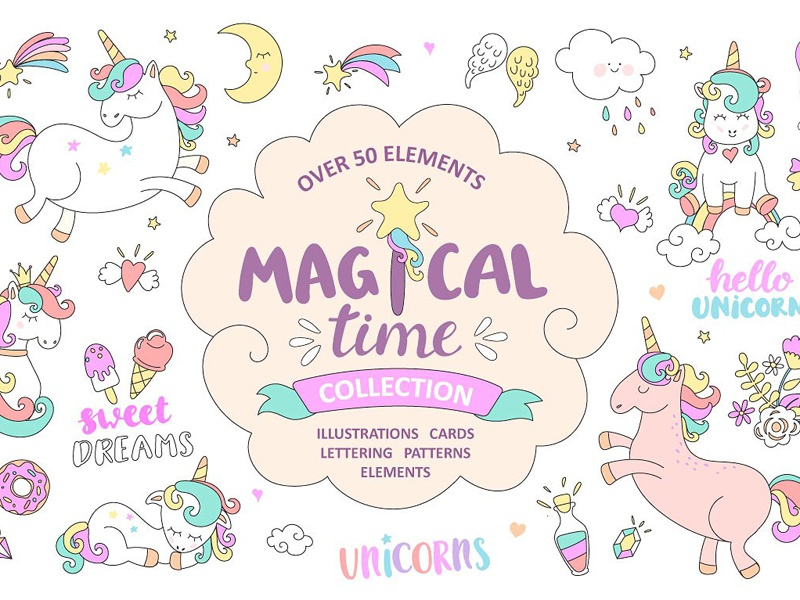 Magical time. Unicorns. magic print vector background cartoon patterns cards illustrations elements lettering magical unicorn