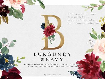 Burgundy&Navy Floral Graphic Set