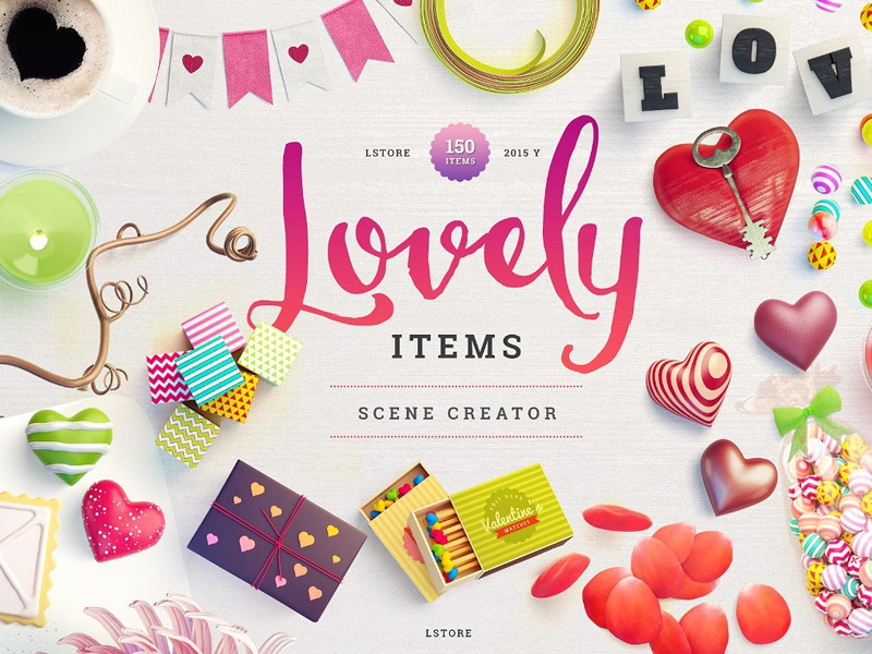 Lovely Items Scene Creator By Graphics Collection Dribbble Dribbble