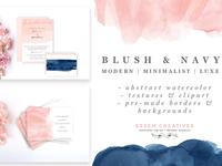 Blush and Navy Abstract Watercolor