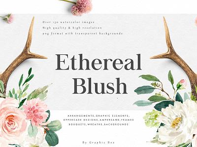 Ethereal Blush-Florals Graphic Set wreath backgrounds bouquet texture floral wreath floral alphabet blush floral graphic set florals ethereal elegant