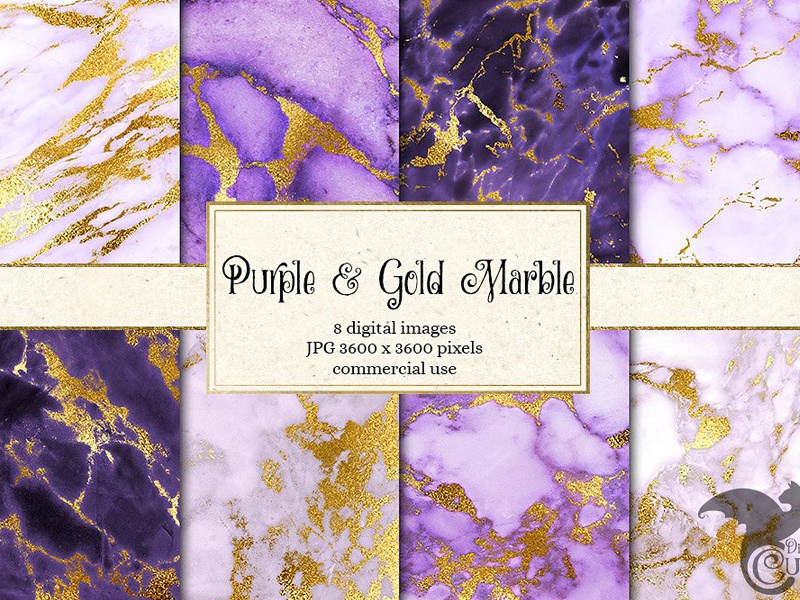 Purple And Gold Marble Textures By Graphics Collection On
