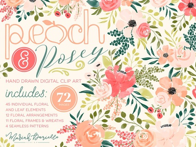 Peach & Posey Floral Graphic Set