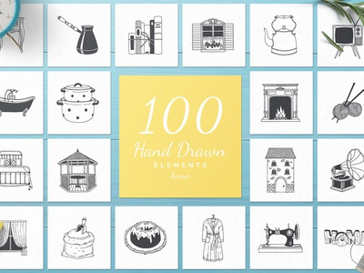 100 Hand Drawn Elements ( FREE Download )