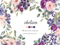 Watercolor Plum Blush Flowers