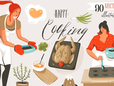 Happy Cooking people illustration kitchen food blog vector people seamless pattern hand drawn lettering scene creator people character cooking people cooking