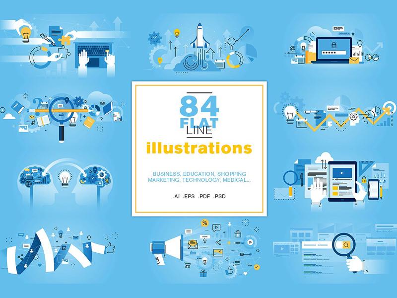 Flat Line Illustrations Bundle marketing social media real estate technology flat education illustrations flat line illustrations business vector website line