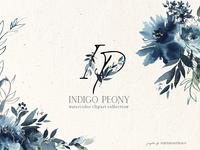 Indigo Peony Watercolor Floral Set