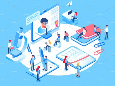 Online education concept design background concept art information graphic people technology development web app concept development website banner isometric business flat vector illustration concept education education concept