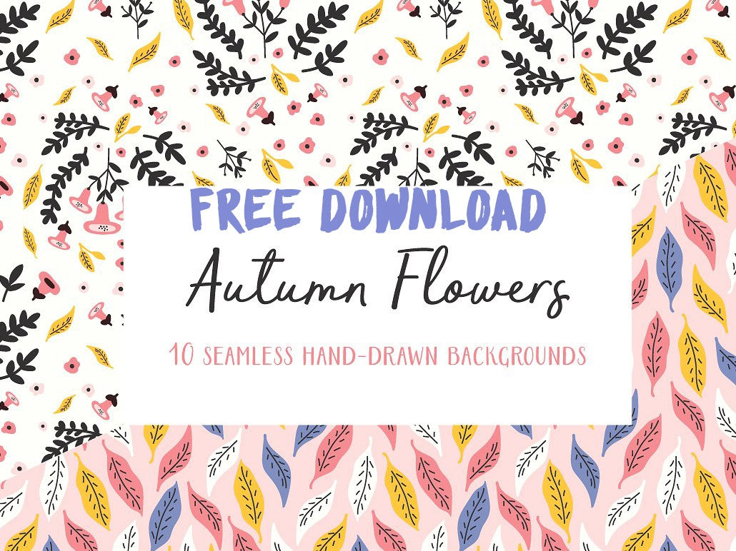 Autumn Flowers Seamless Patterns By Graphics Collection On Dribbble