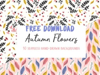 Autumn Flowers Seamless Patterns - FREE Download