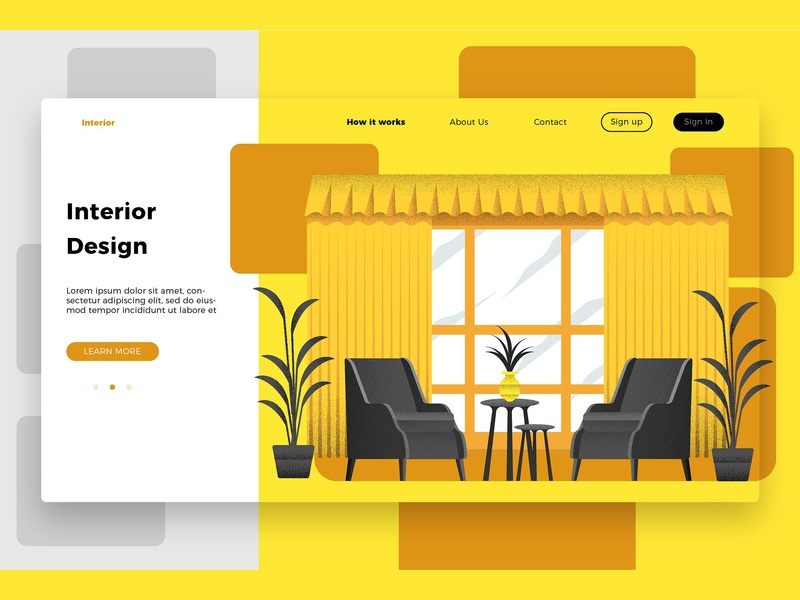 Interior Design Room - Landing Page room interior design interior design room concept landing page banner landing page technology business website development web app app illustration strategy icon concept app vector icons
