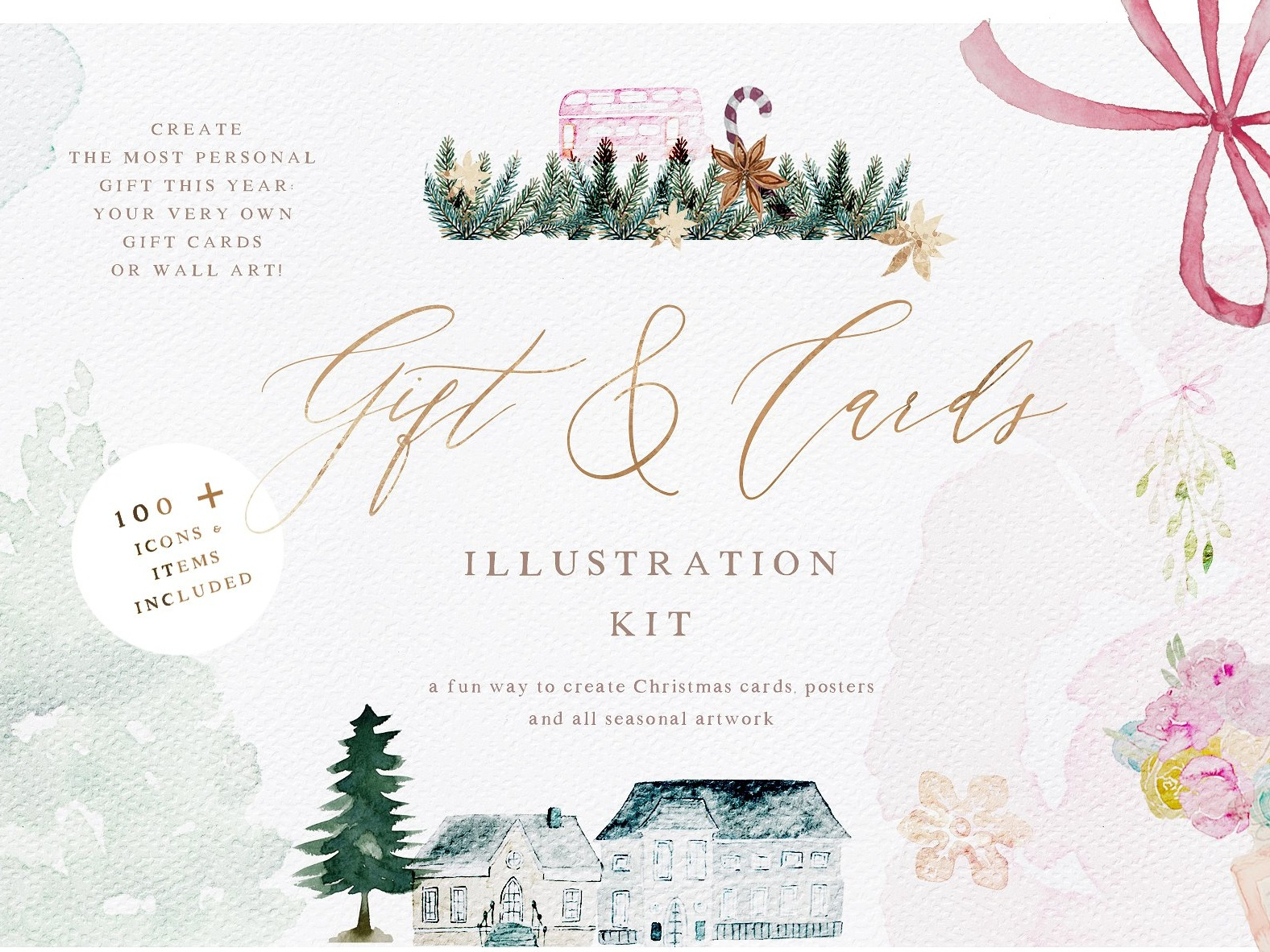 Watercolor Christmas Card Creator by Graphics Collection | Dribbble ...