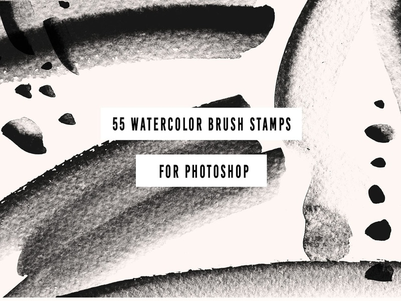 55 PS Watercolor Brush Stamps by Graphics Collection on Dribbble