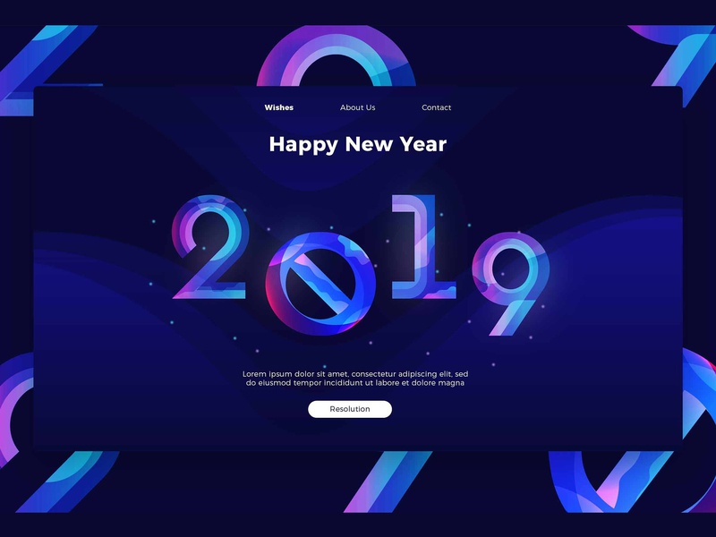 happy new year banner landing page happy new year concept app app web development