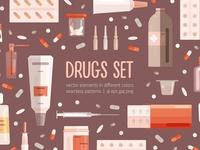 Medicine set and seamless