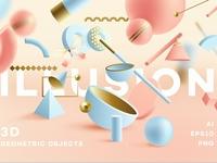 Illusion- 3D Geometric Objects
