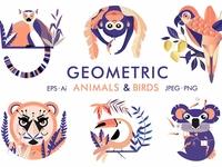 Geometric animals and birds