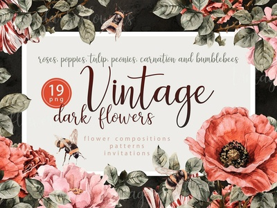 Dark vintage flowers and bees set