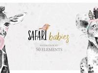 SAFARI BABIES watercolor set