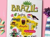 Tourist mosaic. Hand-drawn posters