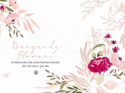 Burgundy Flowers Watercolor & Ink