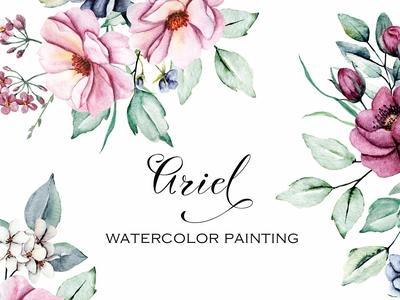 Watercolor flowers, floral set Ariel
