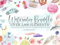 SALE! 2,600 in 1 Watercolor Clipart