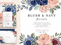 Blush and Navy Watercolor Flowers