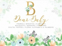 Dear Baby Watercolor Florals & Leaf