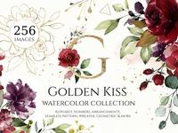 Watercolor floral set - Golden Kiss