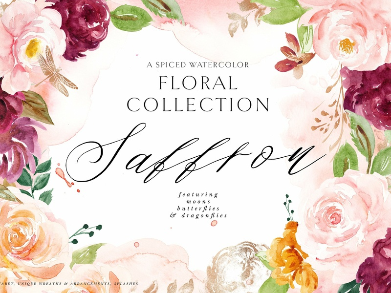 Saffron - Spiced Watercolor Florals background vector design cosmetic blush burgundy flowers texture metallic copper illustration clipart floral collection bouquets wreaths spiced watercolor florals watercolor flowers floral spiced saffron