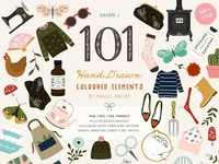 101 Hand Drawn Colour Elements