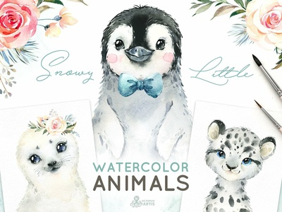 Snowy. Little Watercolor Animals