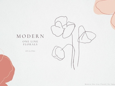 Modern One Line Floral Drawings