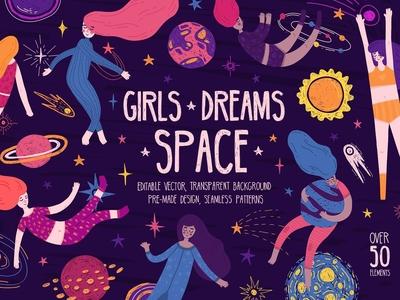 Space Girls ★ Cute set illustration