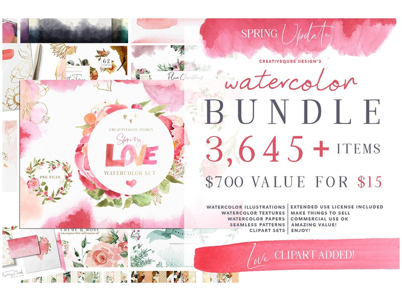 Watercolor Bundle - FREE Updates! by Graphics Collection on