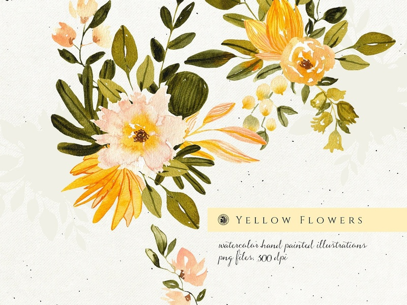 Yellow Flowers By Graphics Collection On Dribbble