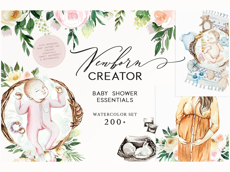 Newborn Creator Baby Shower By Graphics Collection Dribbble
