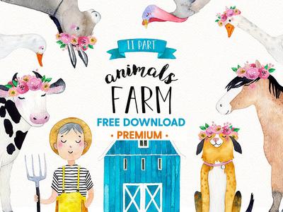 FREE Premium Download - FARM ANIMALS watercolor set