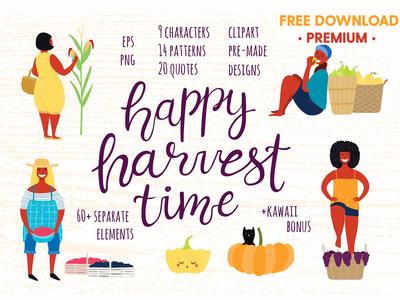 FREE Premium Download - Happy Harvest Time Vector Set